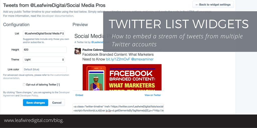Twitter Lists widget shows tweets from multiple Twitter accounts