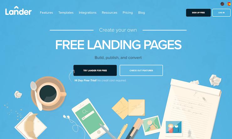 Lander homepage