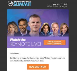 Marketo email offer for free streaming