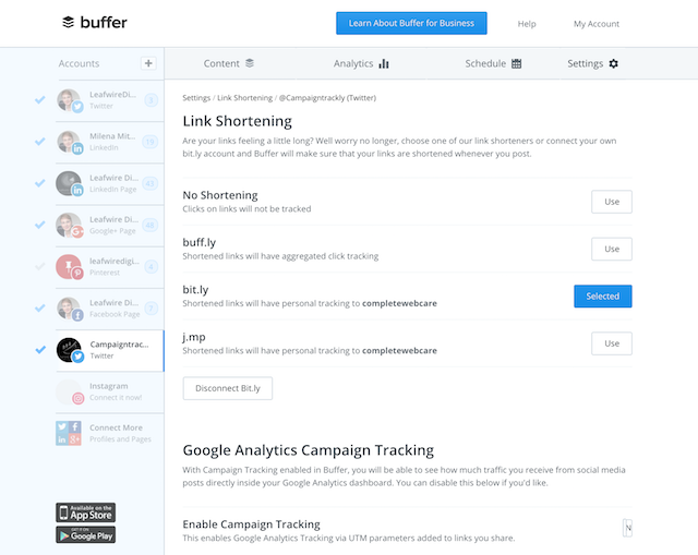 Image shows how you can ask Buffer not to auto-track your marketing campaigns