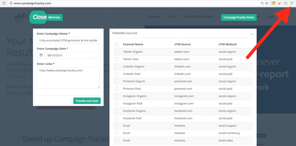 Use CampaignTrackly anywhere in Chrome to tag and build cutom URLs in seconds