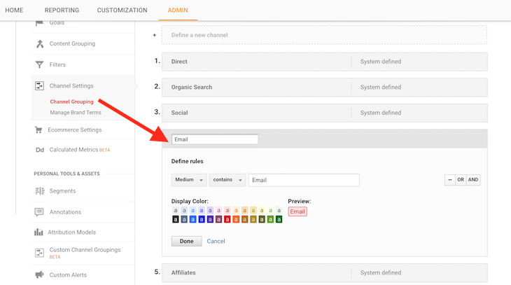 This image shows you how to add your email channel to the rest of your traffic reports in Google Analytics