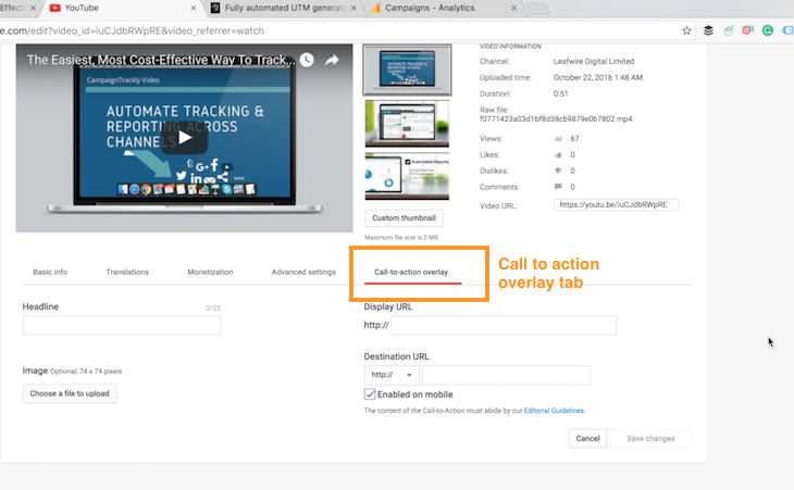Tracking your video in Google Analytics - enter your call to action and tracking url link