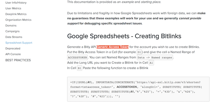 Bitly for Google Spreadsheets