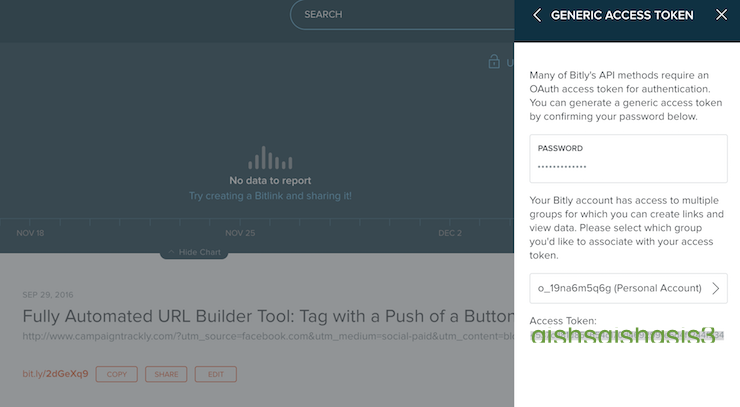 This picture shows you how to generate your own access token from your Bitly dashboard
