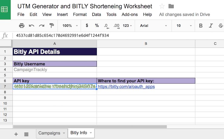 Set up Your Spreadsheet with Bitly Access
