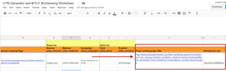 free utm builder spreadsheet excel google campaigntrackly