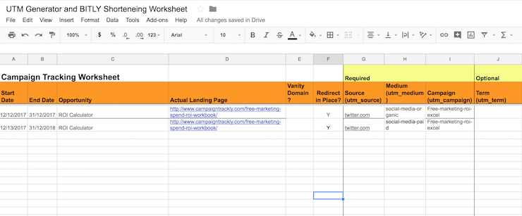 This image shows you the UTM Excel / Google doc file that you can use to generate your UTMs and Bitly your links