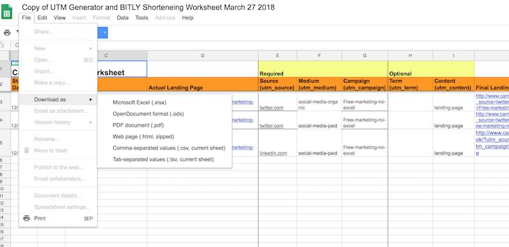 donload the UTM generator spreadsheet