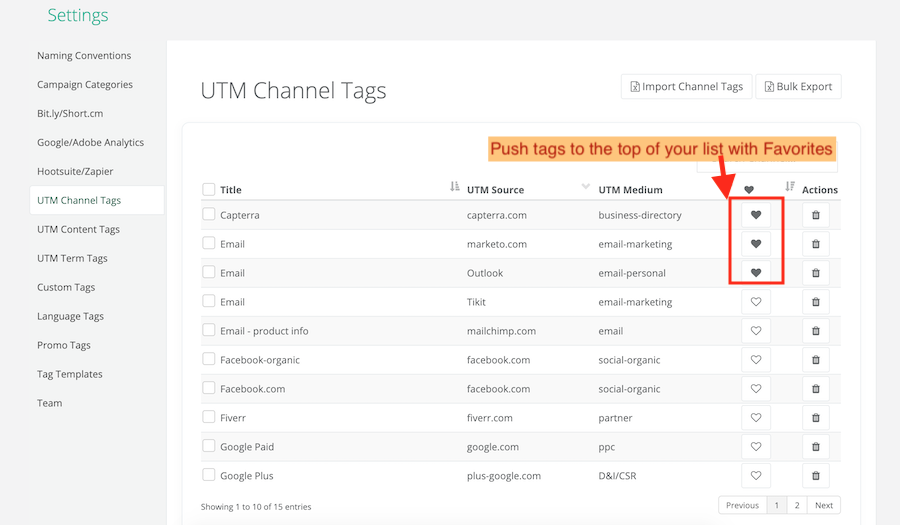 Adding UTM Tags as Your Favorites copy
